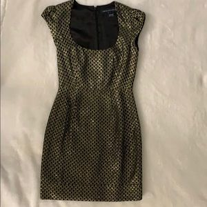 French Connection Black and Gold Cocktail Dress